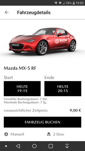 Mazda Carsharing Fahrzeug buchen